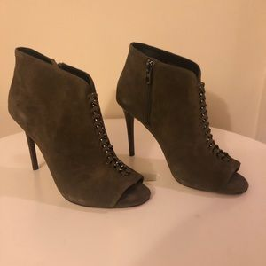 Coach Olive Green Suede Peep Toe Booties